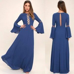 Lulu's Now Is the Time Blue Long Sleeve Maxi Dress